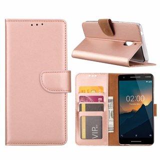 Luxe Lederen Bookcase hoesje voor de Nokia 2.1 - Metallic Roze