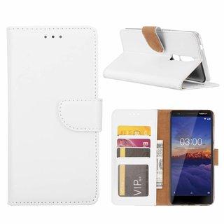 Luxe Lederen Bookcase hoesje voor de Nokia 5.1 - Wit