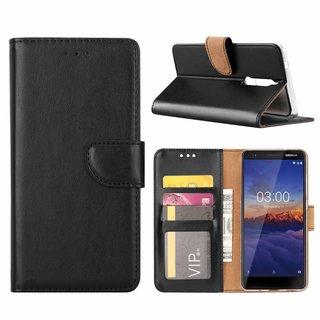 Luxe Lederen Bookcase hoesje voor de Nokia 5.1 - Zwart