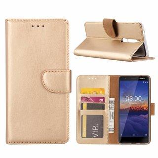 Luxe Lederen Bookcase hoesje voor de Nokia 5.1 - Goud
