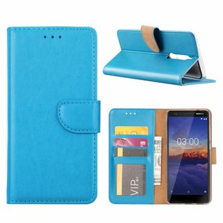 Luxe Lederen Bookcase hoesje voor de Nokia 5.1 - Blauw
