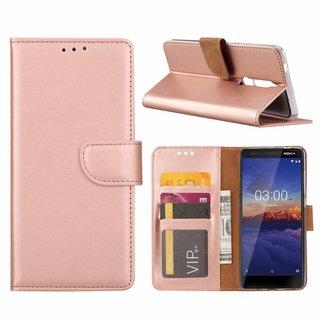 Luxe Lederen Bookcase hoesje voor de Nokia 5.1 - Metallic Roze