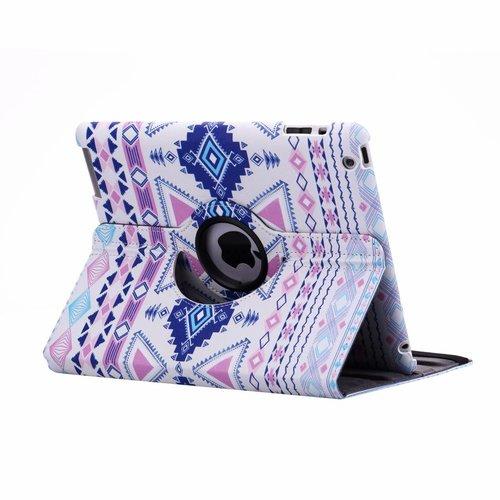 Aztec print lederen roterende hoes voor de Apple iPad 2/3/4 (9.7 inch)