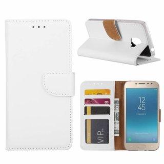 Luxe Lederen Bookcase hoesje voor de Samsung Galaxy J2 Pro 2018 - Wit