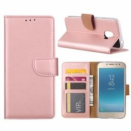 Luxe Lederen Bookcase hoesje voor de Samsung Galaxy J2 Pro 2018 - Metallic Roze