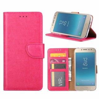Luxe Lederen Bookcase hoesje voor de Samsung Galaxy J2 Pro 2018 - Roze