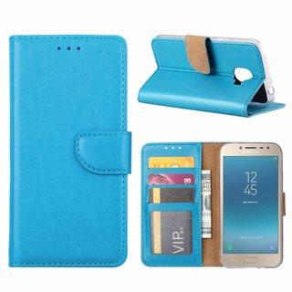 Luxe Lederen Bookcase hoesje voor de Samsung Galaxy J2 Pro 2018 - Blauw