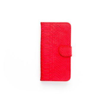 Schubben design Lederen Bookcase hoesje voor de Apple iPhone 8 Plus - Rood