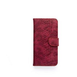 Schubben design Lederen Bookcase hoesje voor de Apple iPhone 8 Plus - Bordeauxrood