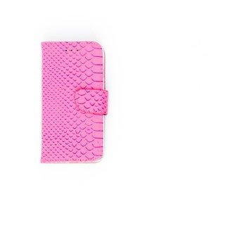 Schubben design Lederen Bookcase hoesje voor de Apple iPhone 8 - Lichtroze