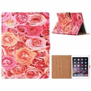 Rozen print lederen standaard hoes voor de Apple iPad 2/3/4 (9.7 inch) - Roze