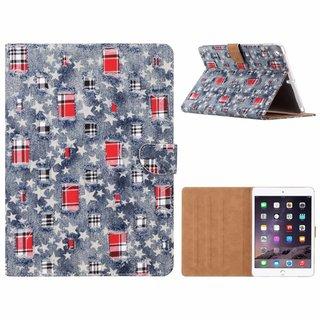 Spijkerbroek print lederen standaard hoes voor de Apple iPad Air (9.7 inch) - Blauw