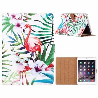 Flamingo print lederen standaard hoes voor de Apple iPad Air (9.7 inch) - Wit