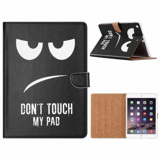 Don't Touch My Pad print lederen standaard hoes voor de Apple iPad Air (9.7 inch) - Zwart