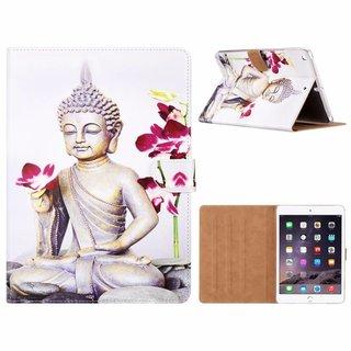 Buddha print lederen standaard hoes voor de Apple iPad Air (9.7 inch) - Wit