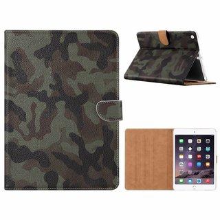 Leger Camouflage print lederen standaard hoes voor de Apple iPad Air (9.7 inch)