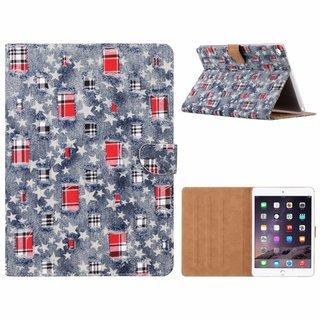 Spijkerbroek print lederen standaard hoes voor de Apple iPad Air 2 (9.7 inch) - Blauw