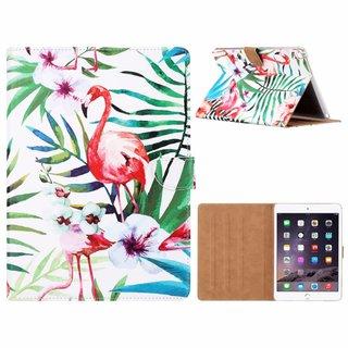 Flamingo print lederen standaard hoes voor de Apple iPad Air 2 (9.7 inch) - Wit