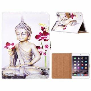 Buddha print lederen standaard hoes voor de Apple iPad Air 2 ( 9.7 inch ) - Wit