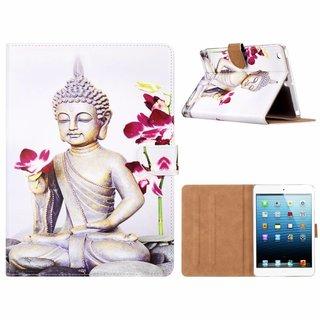 Buddha print lederen standaard hoes voor de Apple iPad Mini 1/2/3 (7.9 inch) - Wit