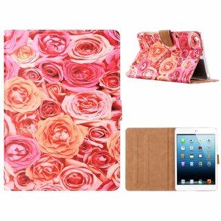Rozen print lederen standaard hoes voor de Apple iPad Mini 1/2/3 (7.9 inch) - Roze