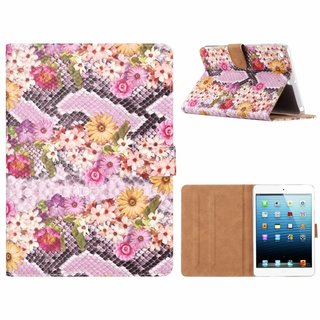 Slangen en Bloemen print lederen standaard hoes voor de Apple iPad Mini 1/2/3 (7.9 inch) - alle kleuren