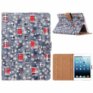 Spijkerbroek print lederen standaard hoes voor de Apple iPad Mini 1/2/3 (7.9 inch) - Blauw