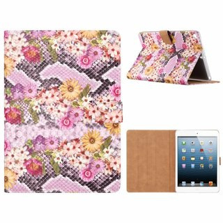 Slangen en Bloemen print lederen standaard hoes voor de Apple iPad 2017/2018 (9.7 inch) - alle kleuren