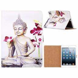 Buddha print lederen standaard hoes voor de Apple iPad 2017/2018 (9.7 inch) - Wit