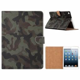 Leger Camouflage print lederen standaard hoes voor de Apple iPad 2017/2018 (9.7 inch)