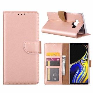 Luxe Lederen Bookcase hoesje voor de Samsung Galaxy Note 9 - Metallic Roze