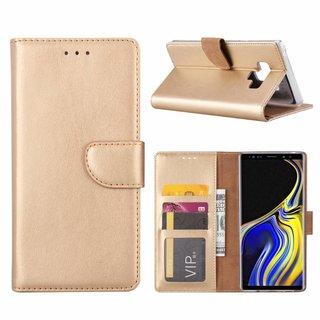 Luxe Lederen Bookcase hoesje voor de Samsung Galaxy Note 9 - Goud