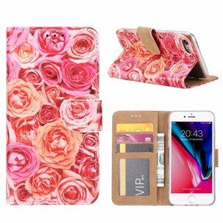 Rozen print lederen Bookcase hoesje voor de Apple iPhone 7 - Roze
