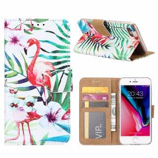 Flamingo print lederen Bookcase hoesje voor de Apple iPhone 8 - Wit
