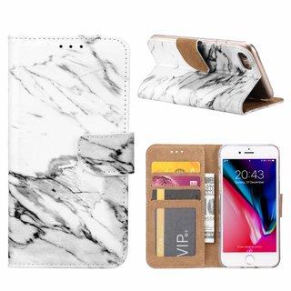 Marmer print lederen Bookcase hoesje voor de Apple iPhone 8 - Wit