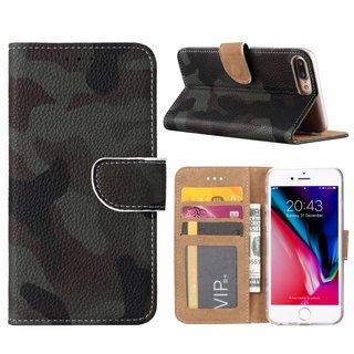 Leger Camouflage print lederen Bookcase hoesje voor de Apple iPhone 7 Plus