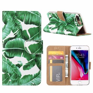 Planten print lederen Bookcase hoesje voor de Apple iPhone 8 Plus - Wit
