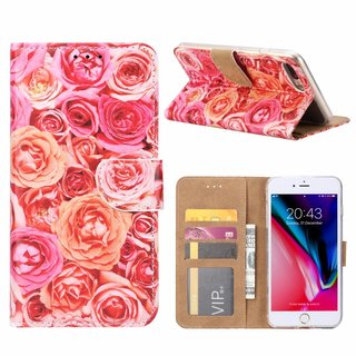 Rozen print lederen Bookcase hoesje voor de Apple iPhone 8 Plus - Roze