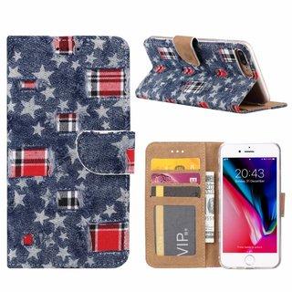 Spijkerbroek print lederen Bookcase hoesje voor de Apple iPhone 8 Plus - Blauw