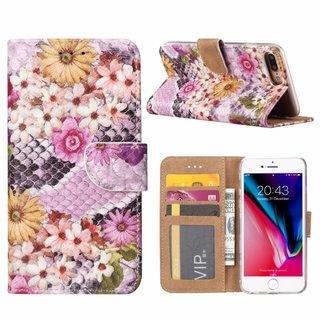 Slangen en Bloemen print lederen Bookcase hoesje voor de Apple iPhone 8 Plus - alle kleuren