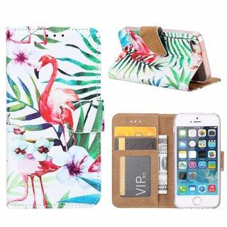 Flamingo print lederen Bookcase hoesje voor de Apple iPhone 5 - Wit