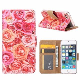 Rozen print lederen Bookcase hoesje voor de Apple iPhone 5 - Roze