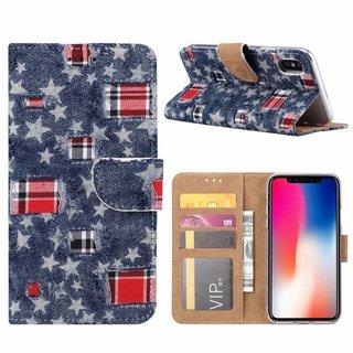 Spijkerbroek print lederen Bookcase hoesje voor de Apple iPhone X - Blauw