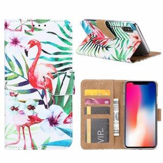 Flamingo print lederen Bookcase hoesje voor de Apple iPhone X - Wit