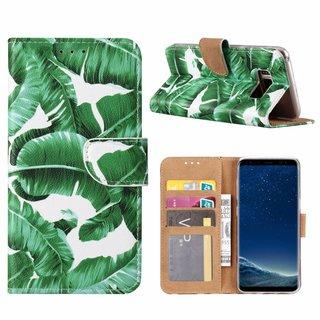Planten print lederen Bookcase hoesje voor de Samsung Galaxy S8 - Wit
