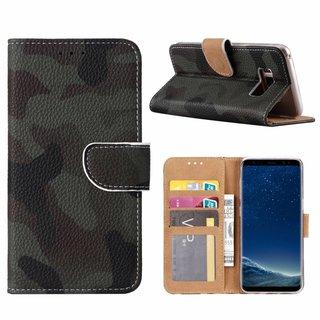 Leger Camouflage print lederen Bookcase hoesje voor de Samsung Galaxy S8