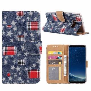 Spijkerbroek print lederen Bookcase hoesje voor de Samsung Galaxy S8 - Blauw