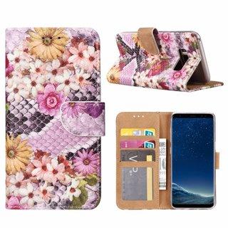 Slangen en Bloemen print lederen Bookcase hoesje voor de Samsung Galaxy S8 - alle kleuren