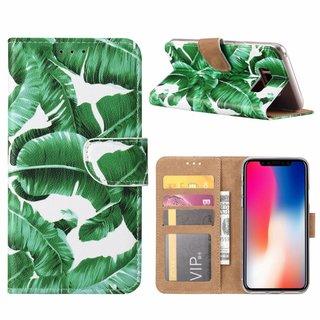 Planten print lederen Bookcase hoesje voor de Samsung Galaxy S8 Plus - Wit