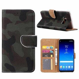 Leger Camouflage print lederen Bookcase hoesje voor de Samsung Galaxy S8 Plus